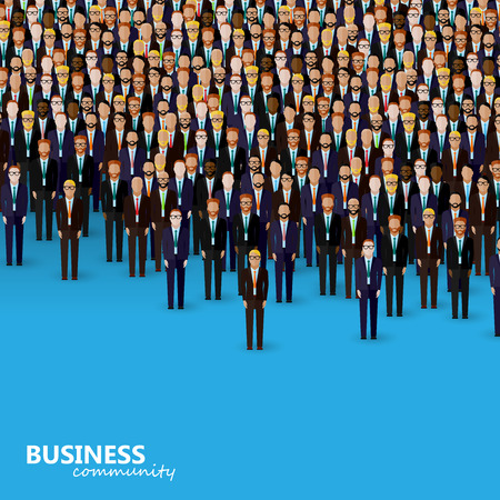 politician: vector flat illustration of business or politics community. a crowd of men (business men or politicians) wearing suits and ties.