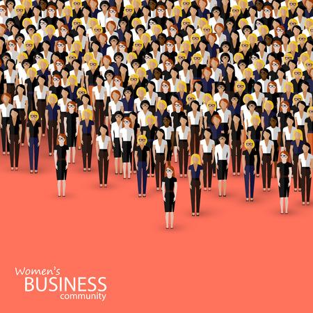 mujeres trabajando: ilustración vectorial plana de comunidad empresarial mujeres. una multitud de mujeres (mujeres de negocios o políticos).