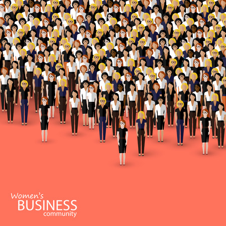women working: vector flat illustration of women business community. a crowd of women (business women or politicians).