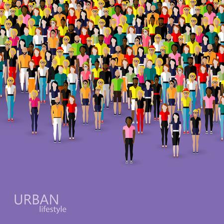 caucasians: illustrazione vettoriale piatto di membri della societ� con una folla di uomini e donne. popolazione. concetto di stile di vita urbano