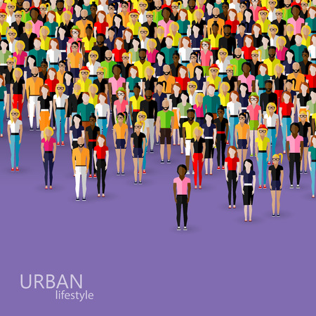infographics: vector flat illustration of society members with a crowd of men and women. population. urban lifestyle concept
