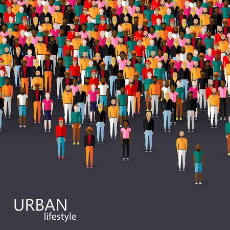 Ilustración del vector del plano de la comunidad masculina con una multitud de chicos y hombres. concepto de estilo de vida urbano