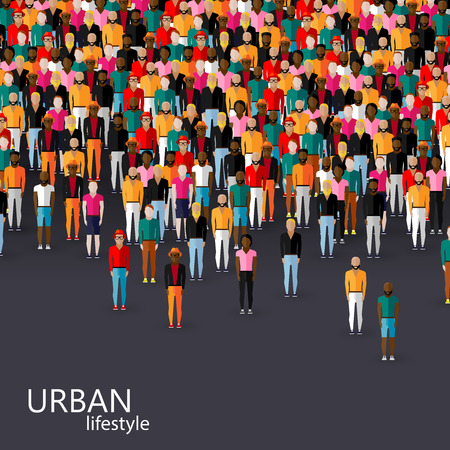group fitness: vector flat illustration of male community with a crowd of guys and men. urban lifestyle concept