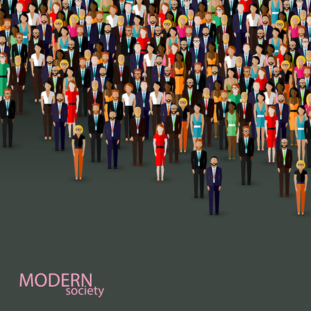 community: vector flat illustration of business or politics community. crowd of well-dresses men and women (business men, women or politicians) wearing suits, ties and dresses.