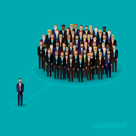 leadership: vector flat illustration of a leader and a team. a crowd of men (business men or politicians) wearing suits and ties. leadership concept Illustration