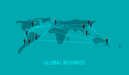 worldmap: vector flat illustration of business people standing on the world global map shape. infographic global business cooperation concept. Illustration