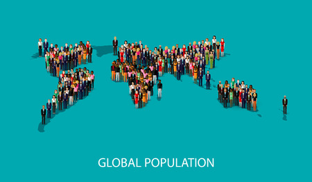 population growth: vector flat illustration of people standing on the world global map shape. infographic global population concept