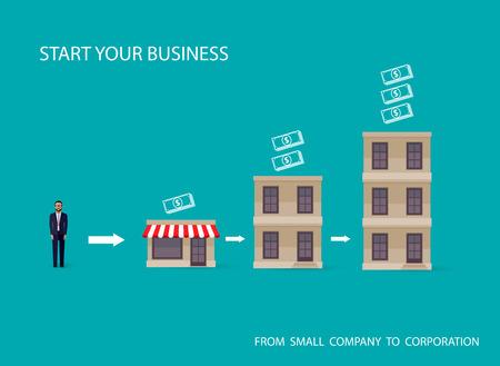 business: 的信息圖表的經營理念矢量插圖持平。商人,開始了自己的事業。啟動概念 向量圖像