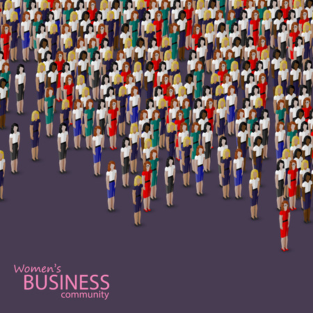 politicians: vector 3d isometric illustration of women business community. a crowd of women (business women or politicians). Illustration