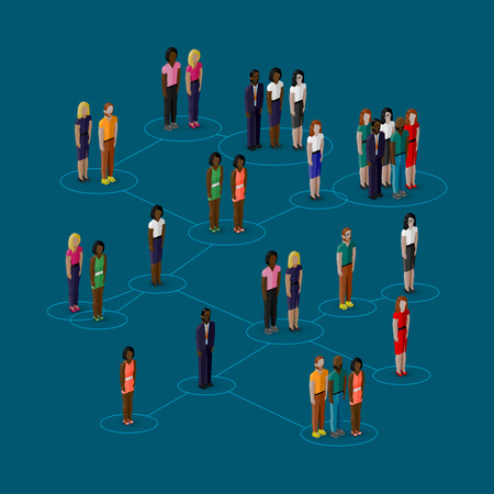vector 3d isometric illustration of society members with  men and women. population. social network concept Vector