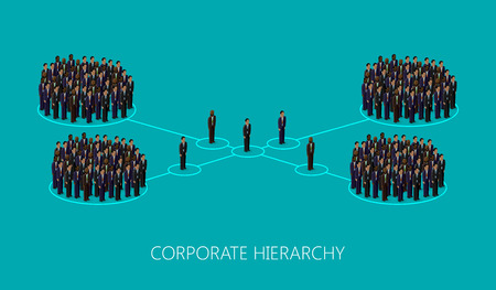corporate hierarchy: vector 3d isometric illustration of a corporate hierarchy structure. a crowd of men (business men or politicians) wearing suits and ties. leadership concept. management and staff organization