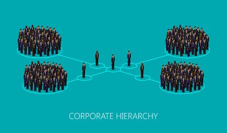 corporate hierarchy: vettoriale 3d isometrico illustrazione di una struttura gerarchia aziendale. una folla di uomini (uomini d'affari o politici) che indossa giacca e cravatta. concetto di leadership. direzione e il personale dell'organizzazione Vettoriali
