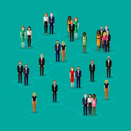 grupo: ilustración vectorial plana de los miembros de la sociedad con hombres y mujeres. población. concepto de red social