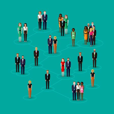 link icon: vector flat illustration of society members with  men and women. population. social network concept