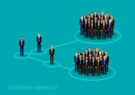 corporate hierarchy: illustrazione vettoriale piano di una struttura gerarchia aziendale. una folla di uomini (uomini d'affari o politici) che indossa giacca e cravatta. concetto di leadership. direzione e il personale dell'organizzazione Vettoriali