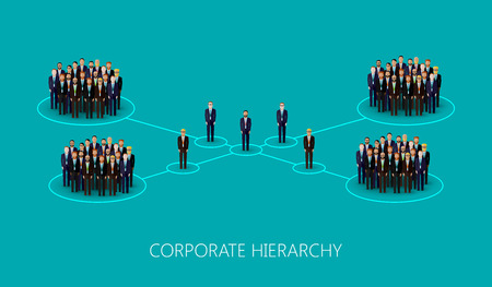 conference speaker: vector flat illustration of a corporate hierarchy structure. a crowd of men (business men or politicians) wearing suits and ties. leadership concept. management and staff organization