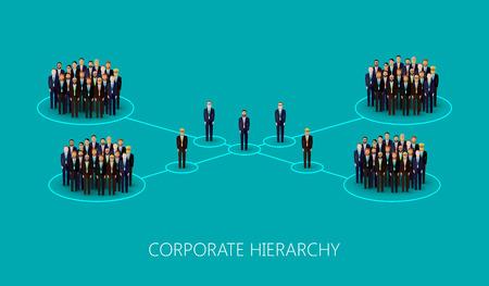 m�nner business: Vektor-Illustration einer flachen Unternehmenshierarchie Struktur. eine Menge von M�nnern (Gesch�ftsleute oder Politiker) tr�gt Anzug und Krawatte. Leadership-Konzept. Management und Mitarbeiter Organisation