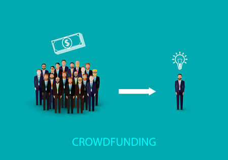 crowd sourcing: vector flat illustration of an infographic crowdfunding concept. a group of business men wearing suits and ties.