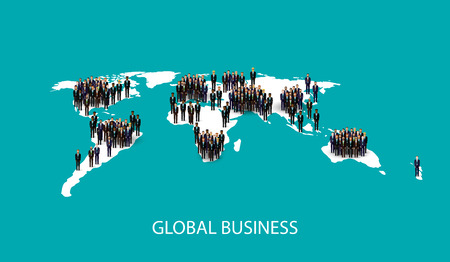 population growth: vector flat illustration of business people standing on the world global map shape. infographic global business cooperation concept. Illustration