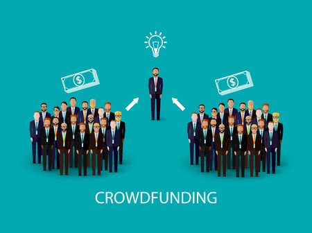 associate: vector flat illustration of an infographic crowdfunding concept. a group of business men wearing suits and ties.