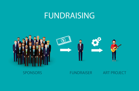 support group: vector flat illustration of an infographic fundraising concept. a group of business men giving money for non profit art project