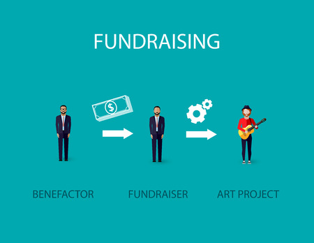 giving money: vector flat illustration of an infographic fundraising concept. a benefactor giving money for non profit art project