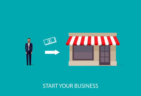 local business: vector flat illustration of an infographic business concept. businessman starts his own business. startup concept