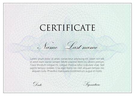 watermarks: vector template design of certificate with guilloche pattern (watermarks)