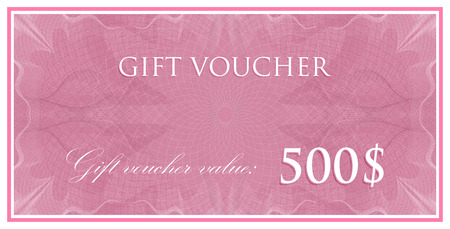 watermarks: vector template design of gift voucher or certificate with guilloche pattern (watermarks). also can be used for banknote design and other financial documents Illustration