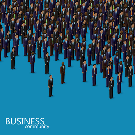 politicians: vector 3d isometric illustration of business or politics community. a crowd of men (business men or politicians) wearing suits and ties.