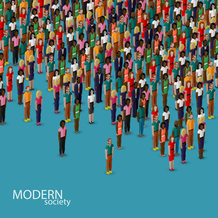 community: vector 3d isometric illustration of society members with a crowd of men and women. population. urban lifestyle concept