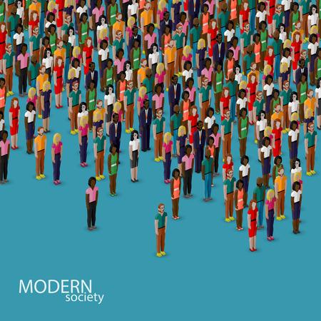 multitud de gente: vector ilustraci�n 3D isom�trica de los miembros de la sociedad con una multitud de hombres y mujeres. poblaci�n. concepto de estilo de vida urbano
