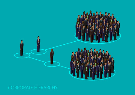 stakeholder: vector 3d isometric illustration of a corporate hierarchy structure. a crowd of men (business men or politicians) wearing suits and ties. leadership concept. management and staff organization