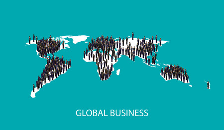 population growth: vector 3d isometric illustration of business people standing on the world global map shape. infographic global business cooperation concept. Illustration
