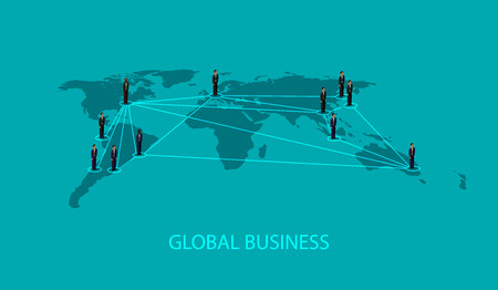 business relationship: vector 3d isometric illustration of business people standing on the world global map shape. infographic global business cooperation concept. Illustration