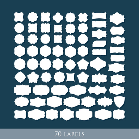 vector set of 70 retro label shapes for design  イラスト・ベクター素材