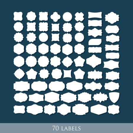 vector set of 70 retro label shapes for design Vector