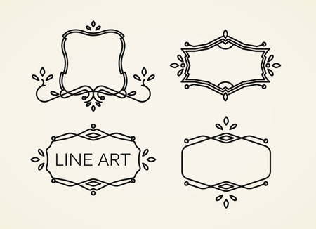 line art: vector conjunto de marcos monograma florales. elementos de arte de l�nea para el dise�o Vectores