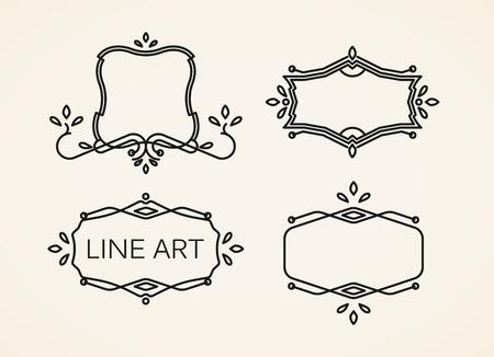 linear art: vector set of floral monogram frames. line art elements for design