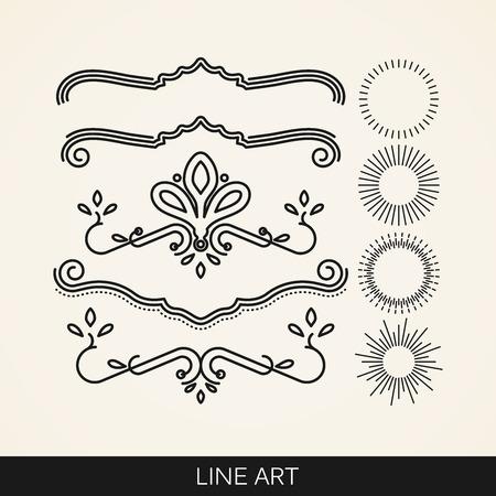 vector set of  line art elements for design, sunburst and ray lights shapes Vector