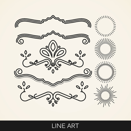leaf line: vector set of  line art elements for design, sunburst and ray lights shapes