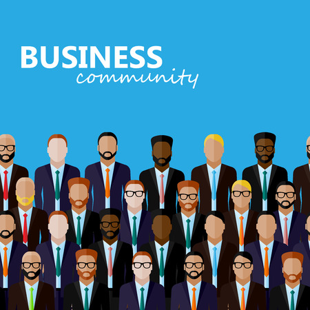 politicians: vector flat  illustration of business or politics community. a large group of men (business men or politicians) wearing suits and ties. summit or conference family image Illustration