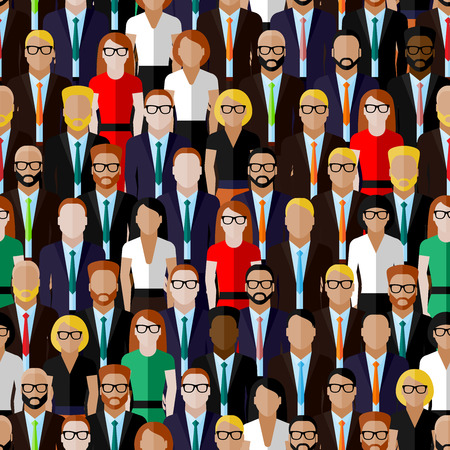 vector seamless pattern with a large group of well-dresses ladies and gentlemen. flat  illustration of business or politics community. summit or conference family image Ilustração