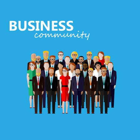 community: vector flat  illustration of business or politics community. a large group of well- dresses men and women (business men, business women or politicians) wearing suits, ties and dresses. summit or conference family image
