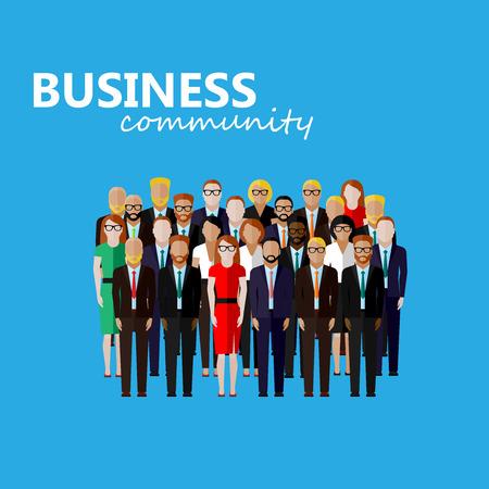 Vector illustration plate du monde des affaires ou de la politique. un grand groupe de robes bien les hommes et les femmes (hommes d'affaires, femmes d'affaires ou politiciens) portant costumes, cravates et robes. l'image du sommet ou de la famille de conférence Illustration