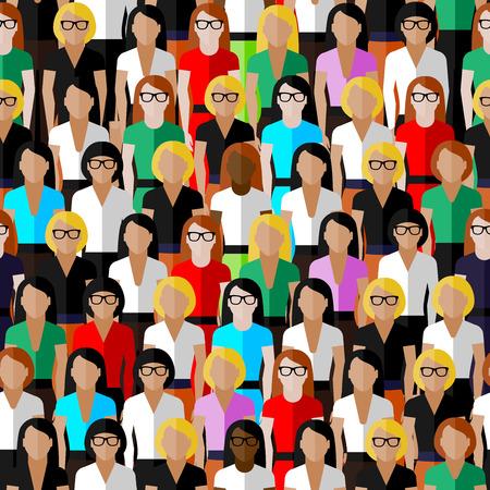 복고풍 숙 녀의 큰 그룹 벡터 원활한 패턴. 비즈니스 또는 정치 커뮤니티의 평면 그림.