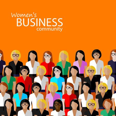 comunidad: ilustraci�n vectorial plana de comunidad empresarial mujeres. un gran grupo de mujeres (las mujeres de negocios o pol�ticos). imagen Cumbre o familiar conferencia