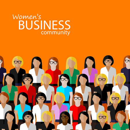 woman fashion: vector flat  illustration of women business community. a large group of women (business women or politicians).  summit or conference family image Illustration
