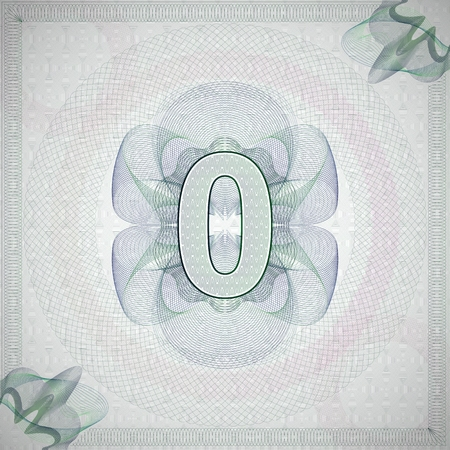 engravings: vector illustration of number 0 (zero) in guilloche ornate style. monetary banknote background