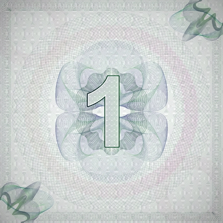 monetary: vector illustration of number 1 (one) in guilloche ornate style. monetary banknote background